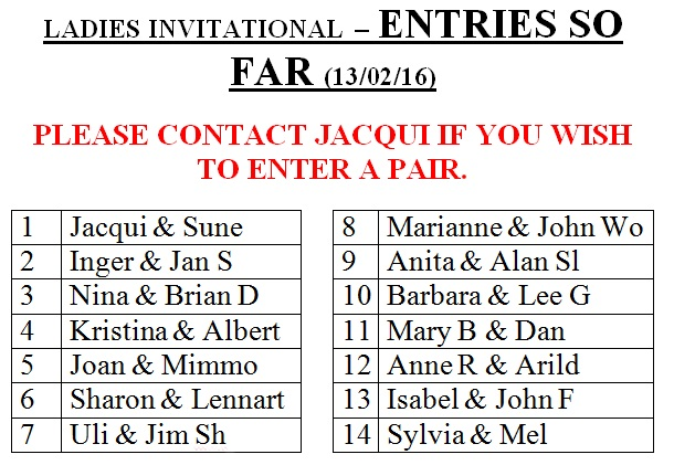 Ladies Invitational Entry List - 13 Feb 16